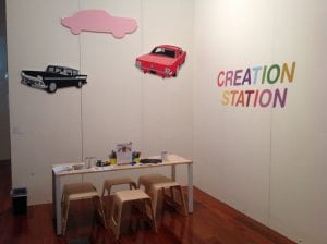 caboolture creation station inside the library. picture of small table and chairs for kids to draw at