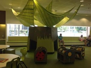 caboolture image for fun days out. in the library, green kids area with seating and books and garden features