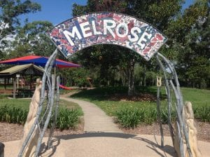 picture of the Melrose entrance. Eagle Park in background