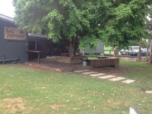 mitchelton seating area in front of Lux Espresso cafe.