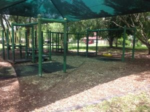 nudgee playground with standing swingset and nortmal swingset. plus more play equipment
