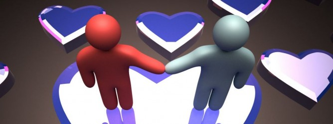rendered 3d image of stick figure couple holding hands