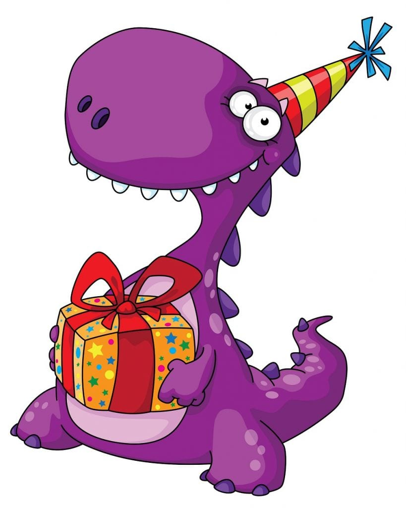 cartoon dinosaur with party hat and present