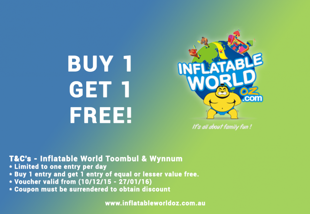 Inflatable World voucher. Valid for Wynnnum ad Toombul locations. Buy 1 get 1 free.