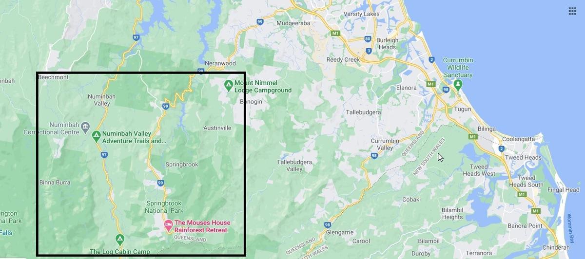 Map of Springbrook National Park