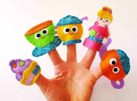 Handmade teapot puppets