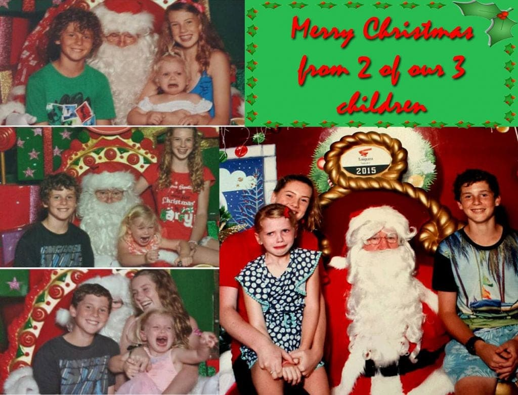 Santa photo fail, little girl hates santa