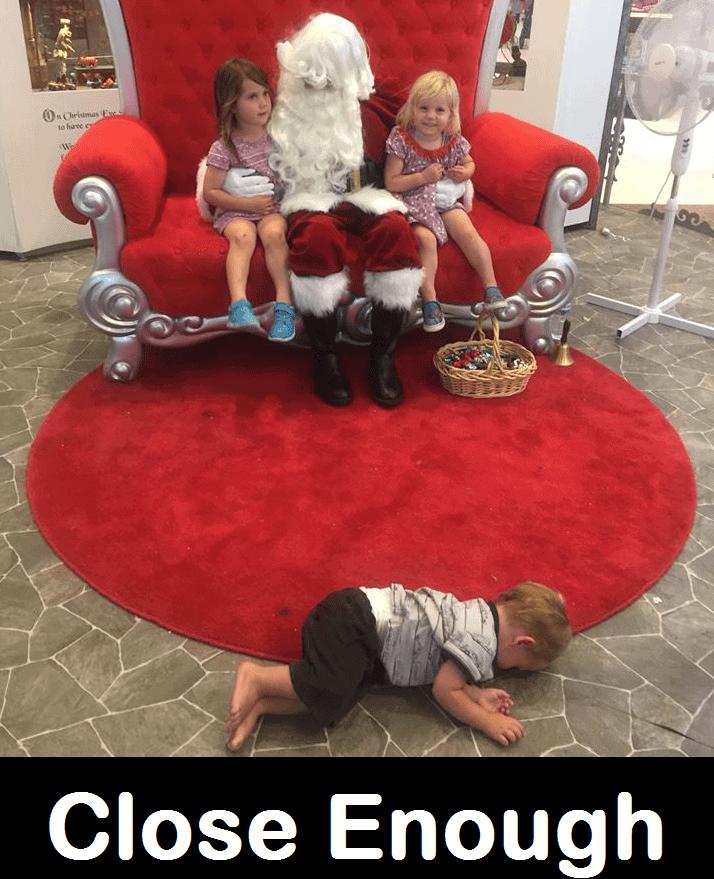Santa Photo Fail Kid on Floor