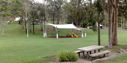 Ipswich to Toowoomba - wide shot of a public park area underneath a sun shade