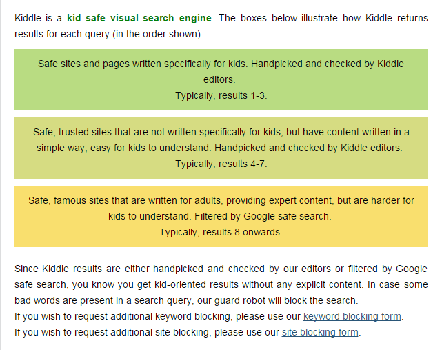 Kiddle search results and safety