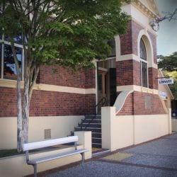 The facade of Hamilton Library