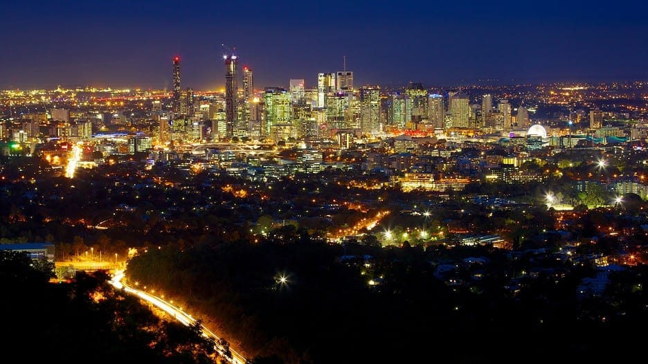 View of Brisbane from Mt Cootha at night