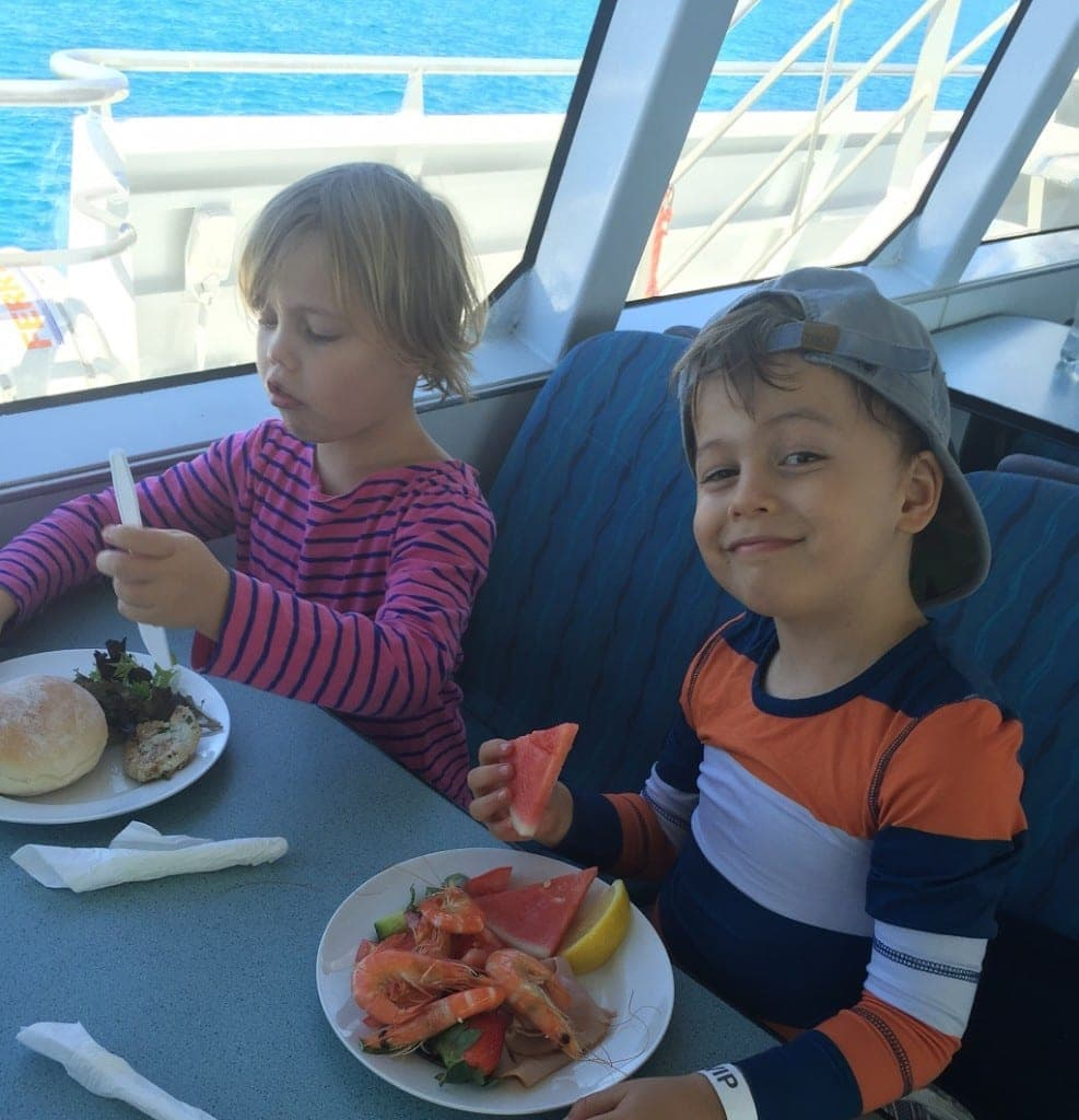 Brisbane Whale Watching with kids - the food