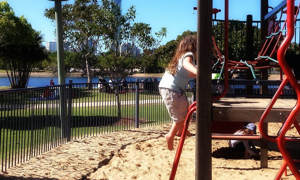 girl on playground at Bundall Farmer's Market