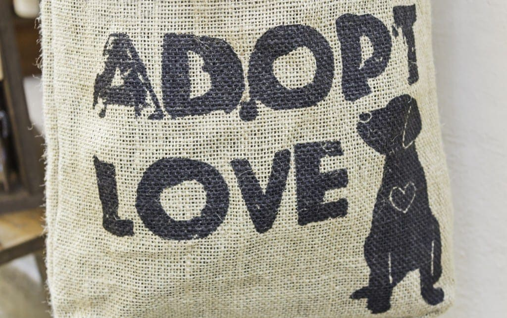 """Canvas bag with """"Adopt Love"""" text and dog silhouette"""