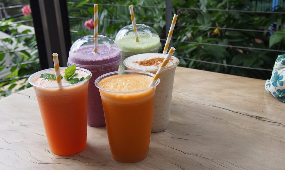 Crystal Castle Byron Bay colourful smoothie drinks
