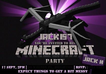 Minecraft birthday party invitation featuring Ender Dragon