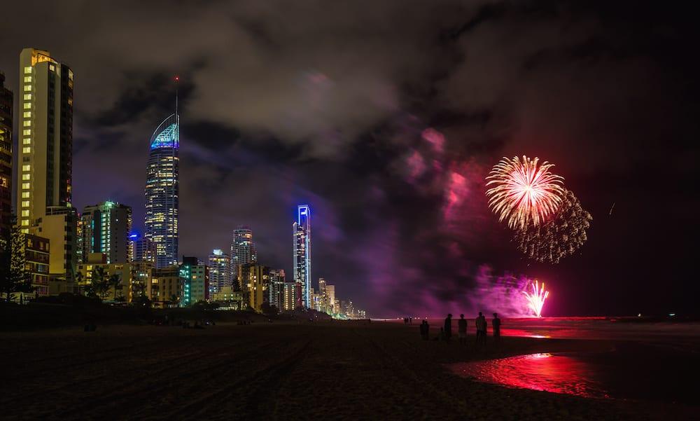 Firework celebrations on the Gold Coast, Australia