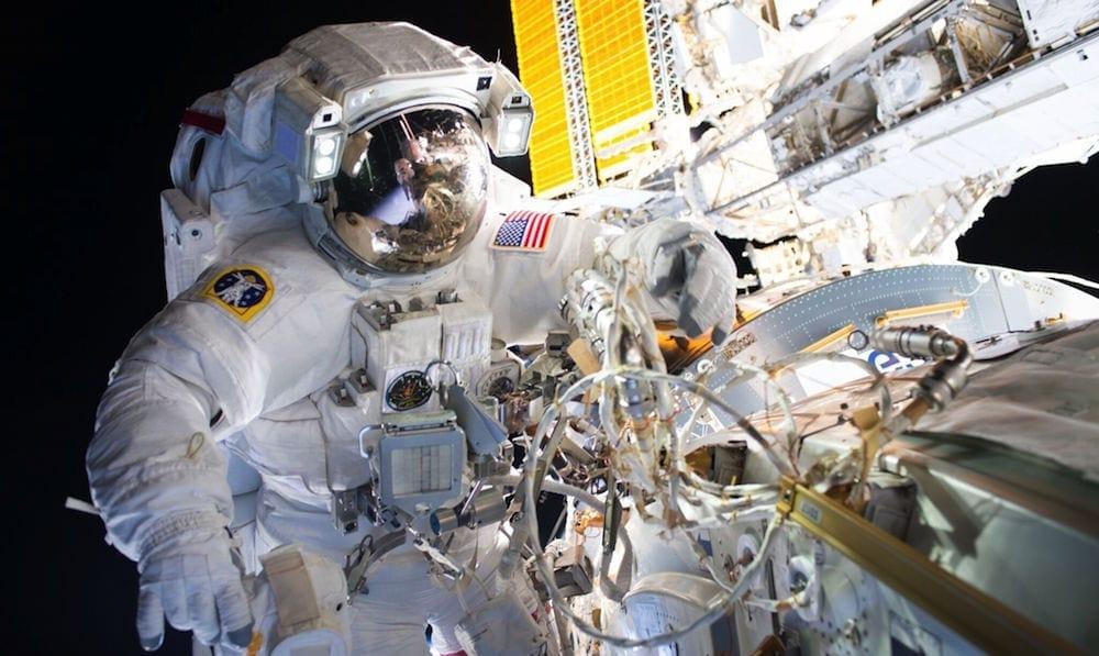 Spacewalker Outside International Space Station