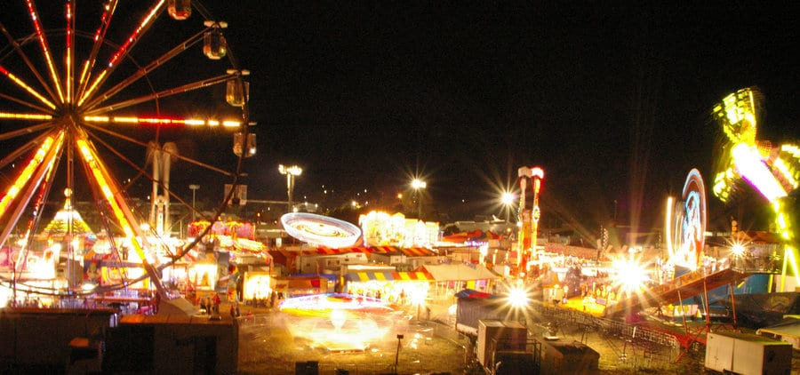 high perspective of the toowoomba show at night