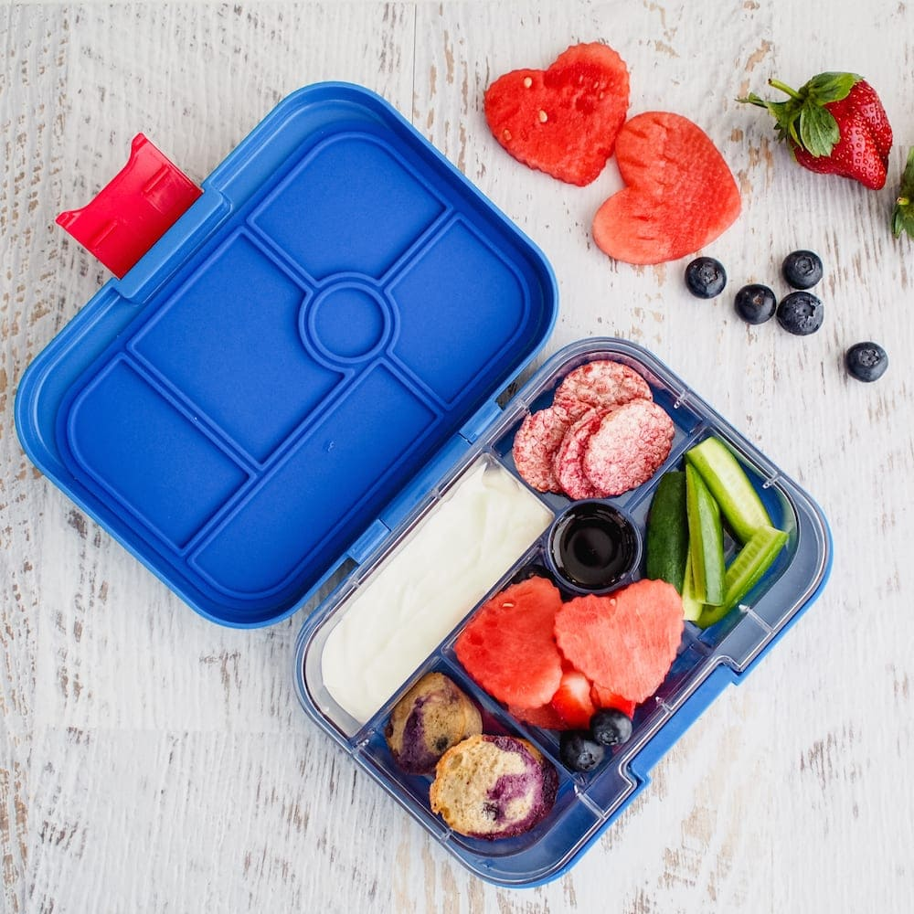 Lunch box Inspiration open lunchbox with fruit dip and veggies