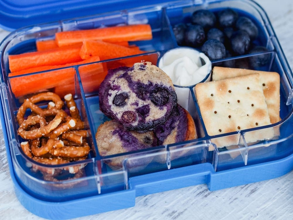 Lunch box Inspiration muffins and fruit in lunch box