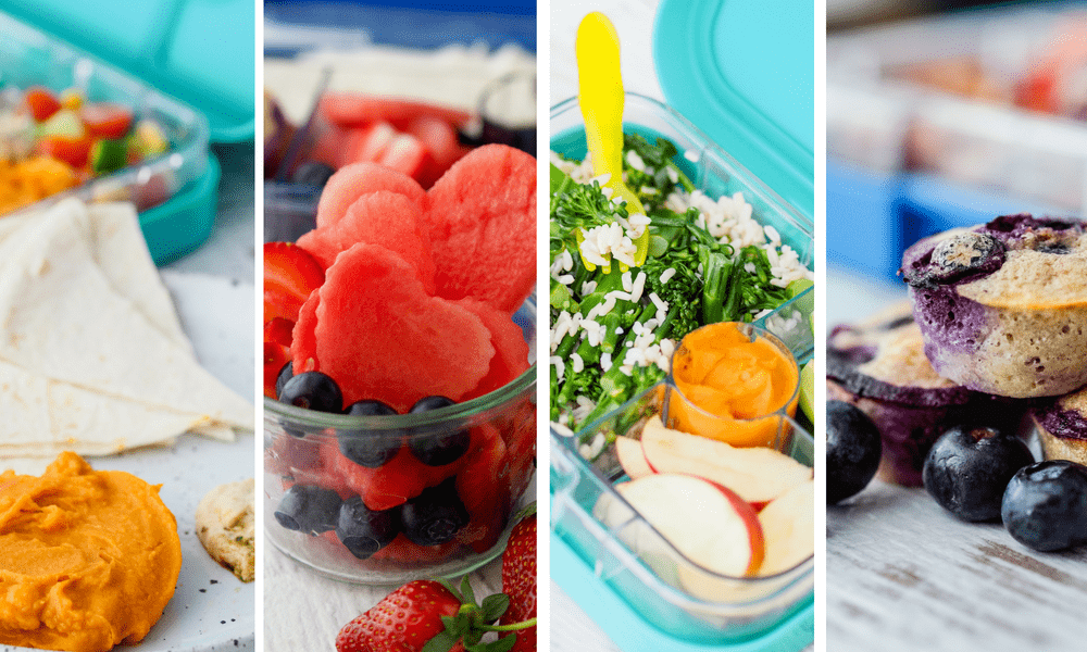 Lunch box Inspiration recipe ideas and food photos of dips, salad and fruit