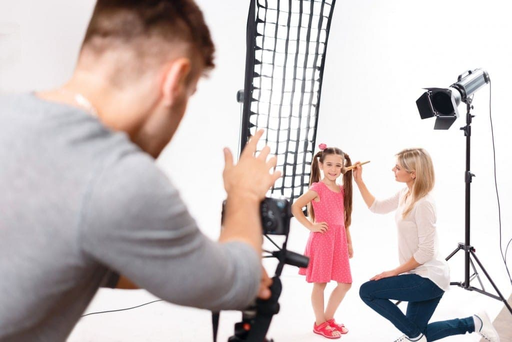 featured image, young girl on film set