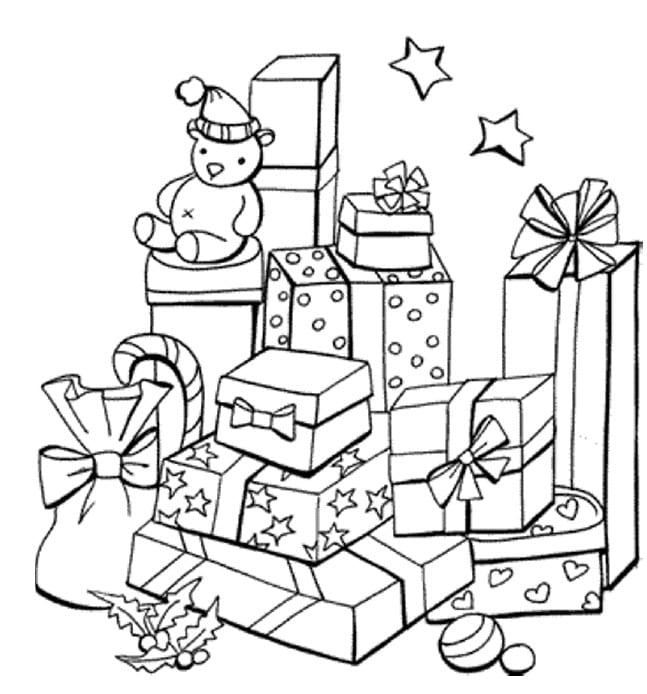 Christmas presents colouring in for kids