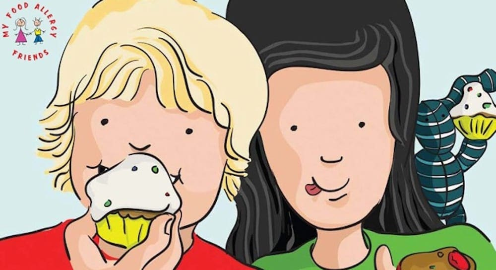 Illustration of two children eating a cupcake