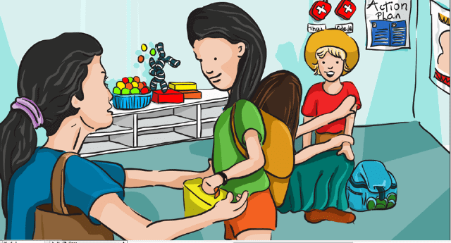 Food Allergy illustraion of mum sending child to school with lunch box