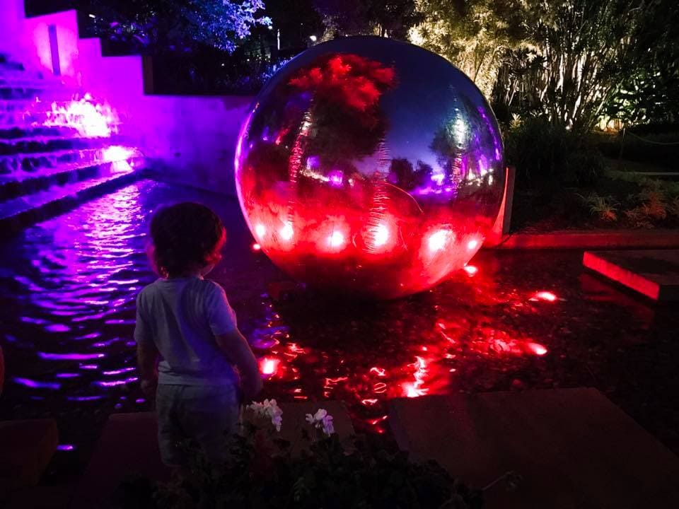 enchanted garden - roma street parkland brisbane chrome ball