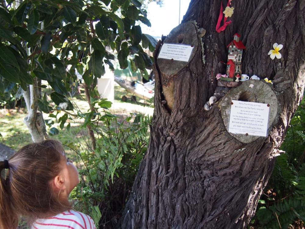 Little girl peers up tree into fairy house