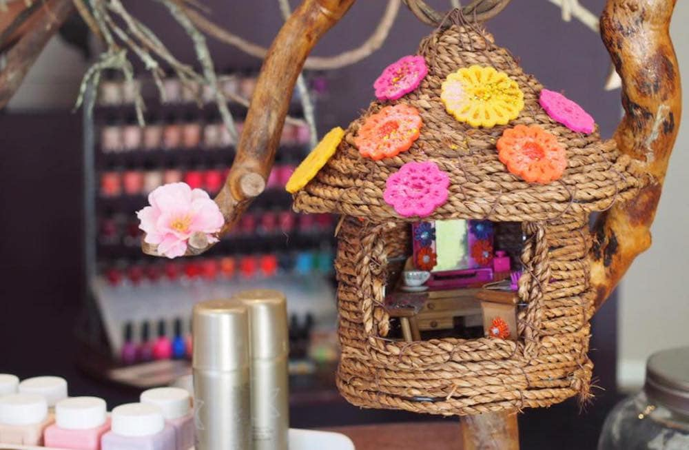Tiny fairy house inside a beauty salon