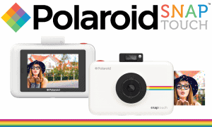 WIN a Polaroid Snap Touch Instant Digital Camera merchandise image of a white camera and Polaroid logo