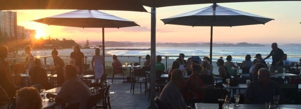 Family Friendly Surf Clubs on the Gold COast Greenmount Surf Club picture of club balcony at sunset