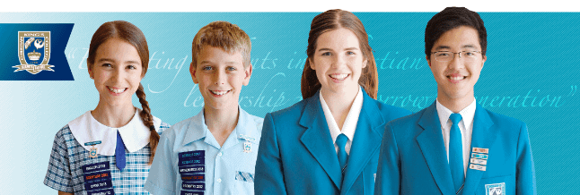 king's christian college four students lined up in uniform