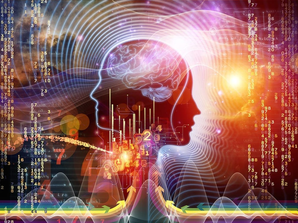 Music Brain Arrangement of human feature lines and symbolic elements on the subject of human mind, consciousness, imagination, science and creativity