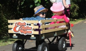 Rock & Roller Wagon cool little boy in sunglasses and hat being pulled in wagon