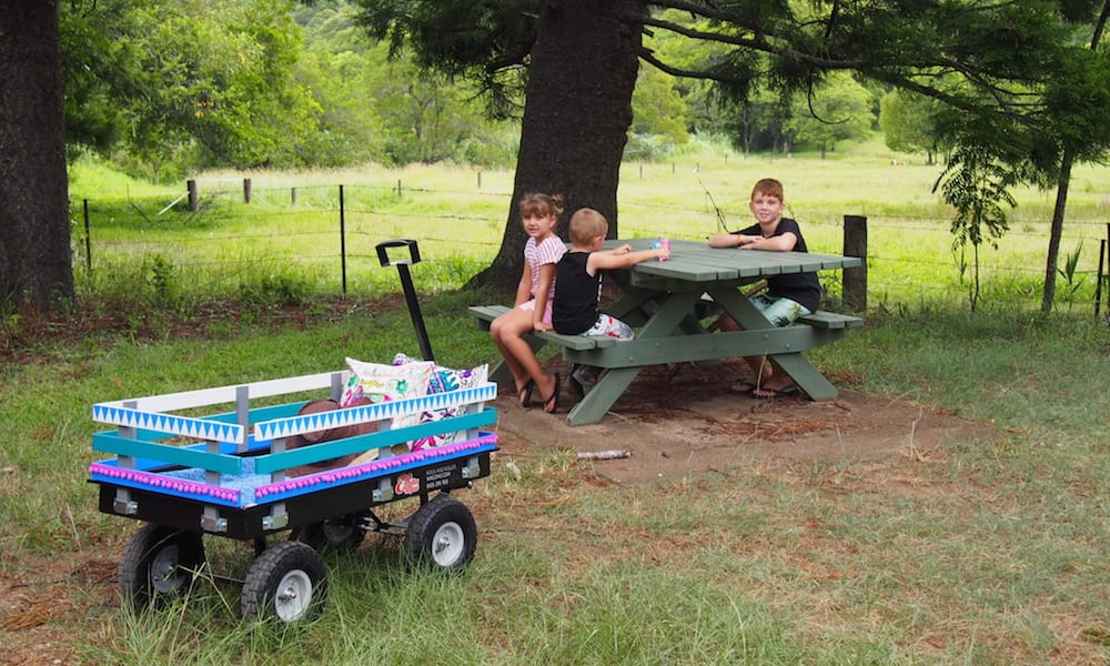 Rock & Roller Wagon in foreground as children picnic under a tree by a meadow