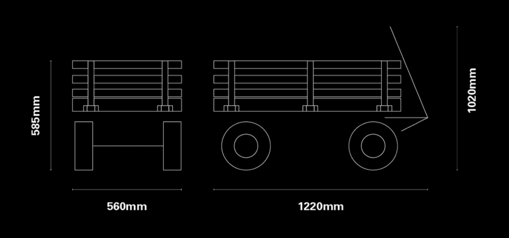 Rock & Roller Wagon Diagram of Dimensions