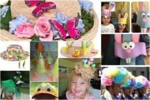 Collage of easy easter bonnet ideas