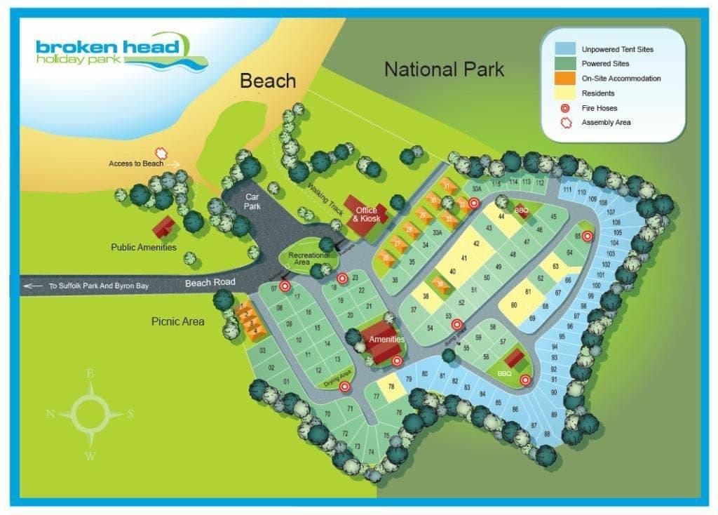 Broken Head Holiday Park map