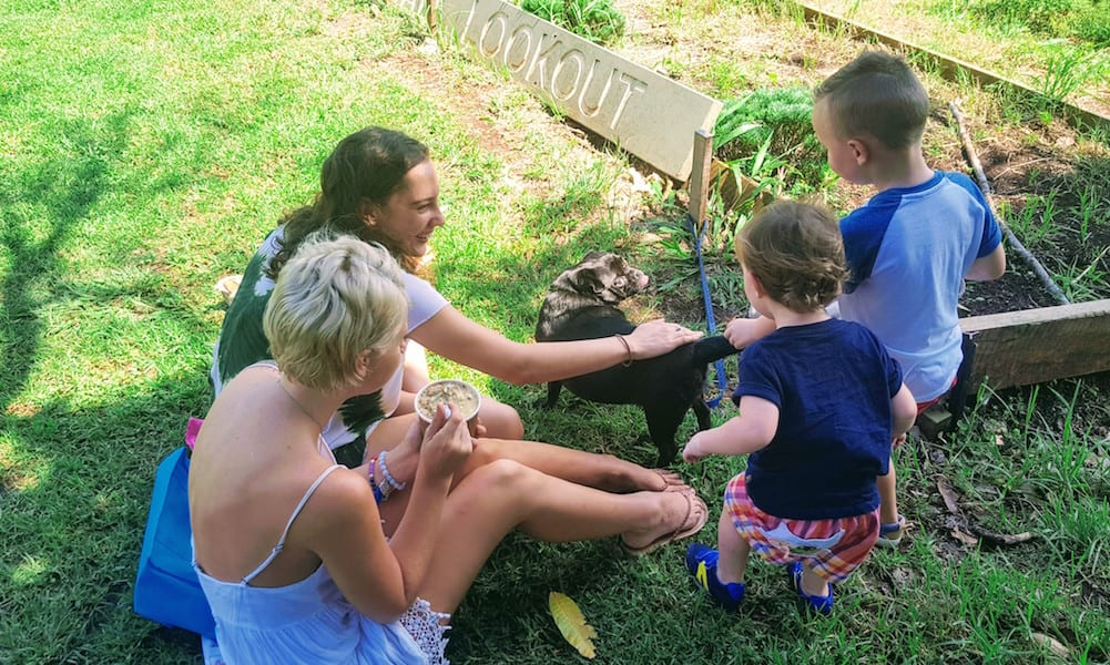 Freeman's Organic Farm family with small children patting dog while picnicing on grass