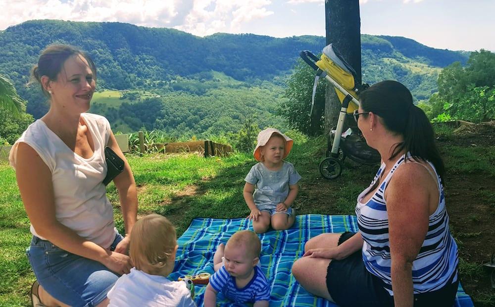 Freeman's Organic Farm family enjoying outdoor picnic