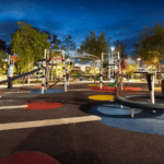 Robelle Domain Parklands play equipment at night