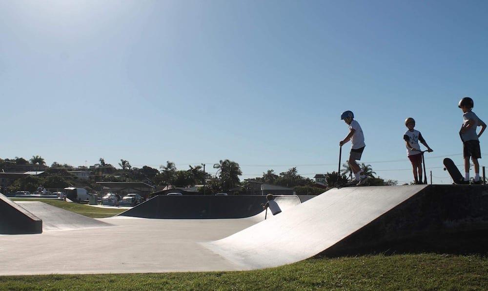 kids in silouhette against sky at Byron Bay Skate parks