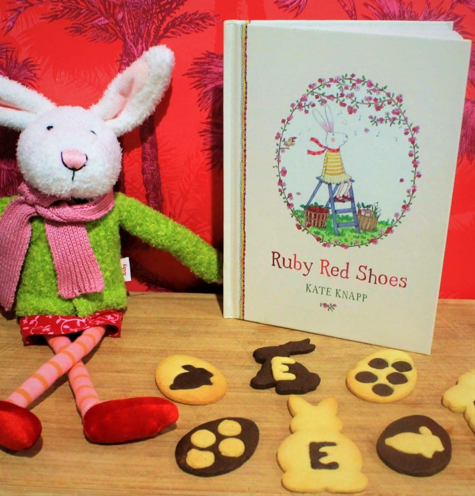 Easter Bunny Biscuits and book Ruby Red Shoes by Kate Knapp