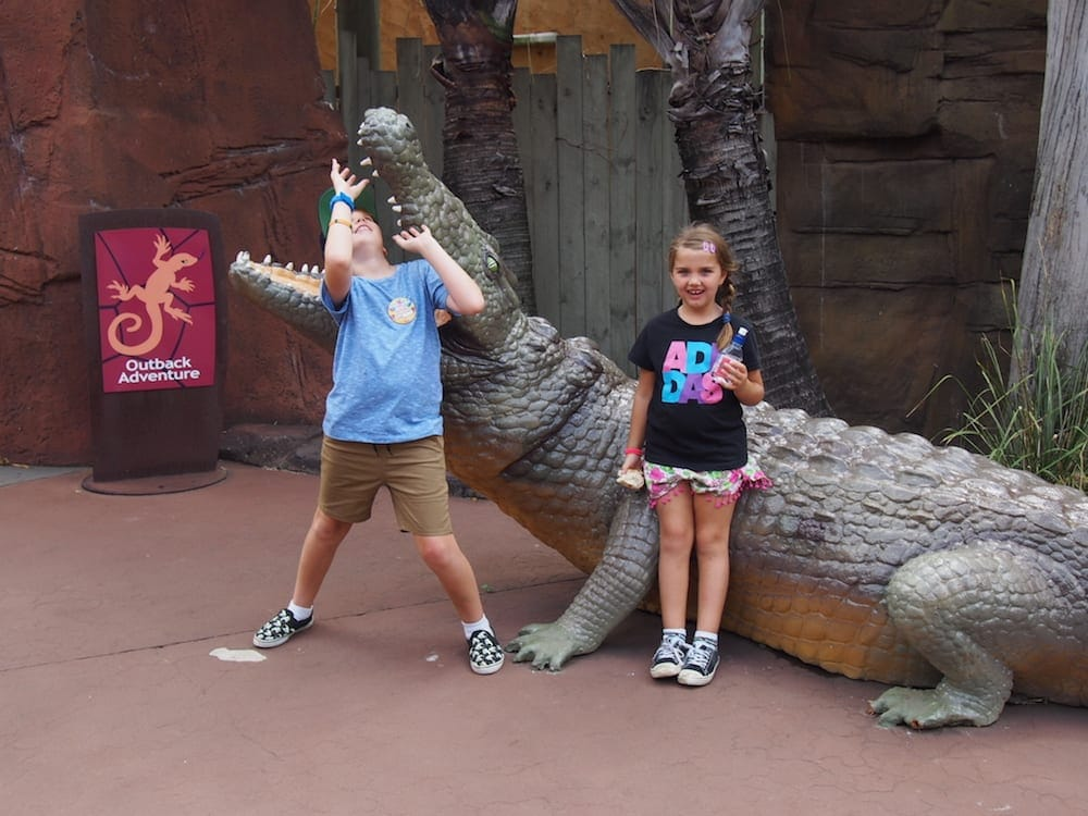 dkids goofing with pretend crocodile at reamworld for families