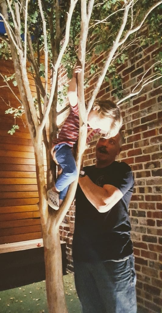 Dad helping kids climb tree with lights at Balter Brewery